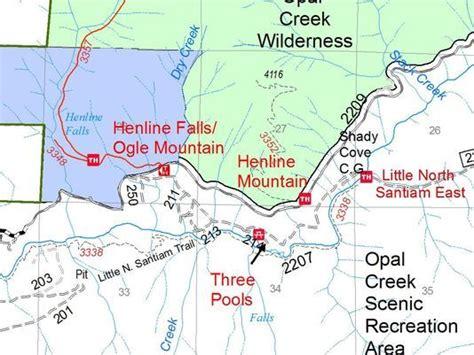 opal creek oregon map henline henline falls trails closed in opal creek