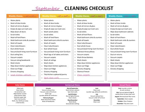 cleaning calendar template complete housekeeping printable set like rainbows