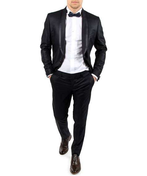 Slim Fit Slim Fit Black Suit For In Shawl Lapel