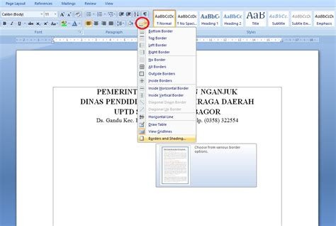 sebutkan langkah langkah membuat kop surat cara membuat garis kop surat di microsoft word espada blog