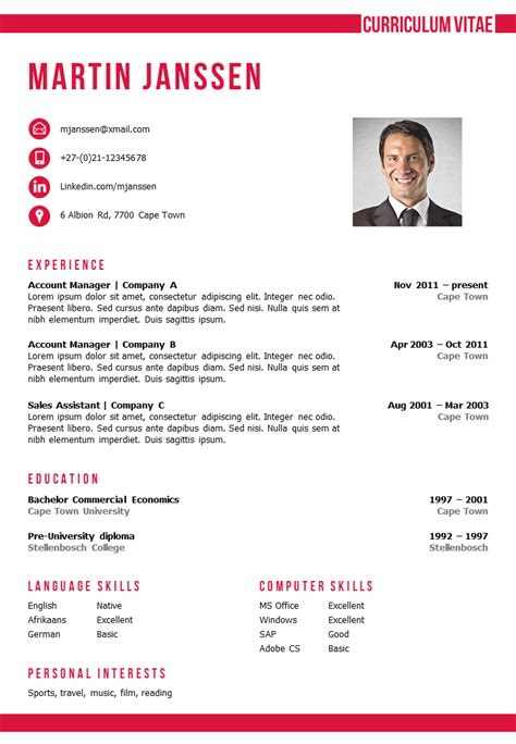 Cv Template Word by Cv Template Cape Town