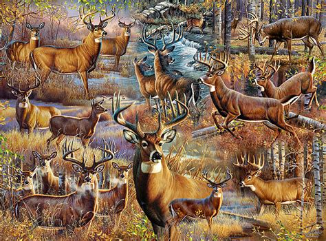 Hunting Duvet Cover Deer Collage By Cynthie Fisher
