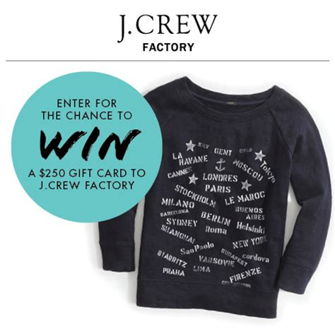 tanger outlet 250 j crew factory gift card sweepstakes thrifty momma ramblings - J Crew Factory Gift Card
