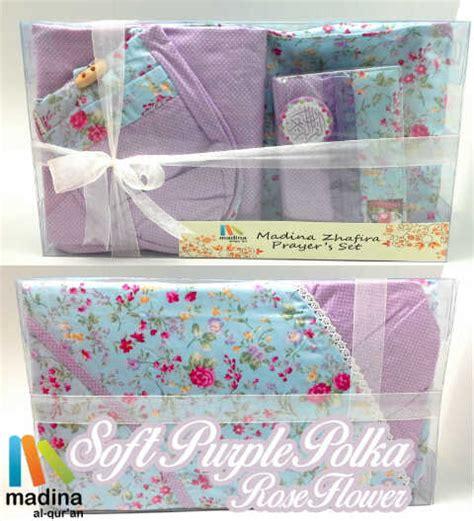 Mukena Polka Flower prayer set soft purple polka flower jual quran murah