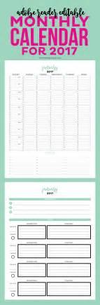 Calendar Goals Editable 2017 Simple Monthly Calendar And Goal Tracker