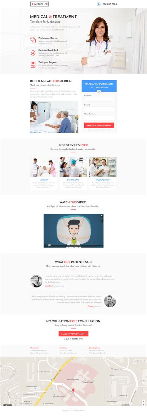 Unbounce Medical Landing Page Template Mediclick By Surjithctly Themeforest Dental Landing Page Template
