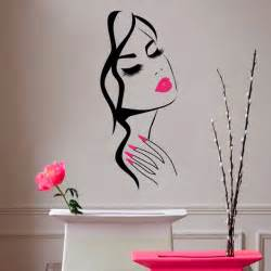face vinyl sticker home decor hairdresser hairstyle wall gros mode vres rouges lady stickers muraux coration