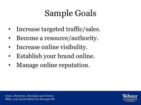 sle of career goals and objectives goals objectives strategies and tactics