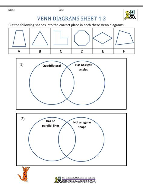 diagram division worksheet venn diagram worksheet 4th grade