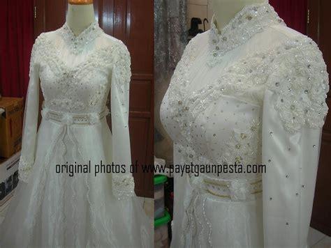 Kebaya Pendek Payet Corneli White payet gaun pesta pengantin muslim eropa broken white