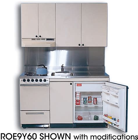 Compact Kitchen Sinks Acme Roe9y60 Compact Kitchen With Stainless Steel Countertop 4 Electric Burners Oven Sink And