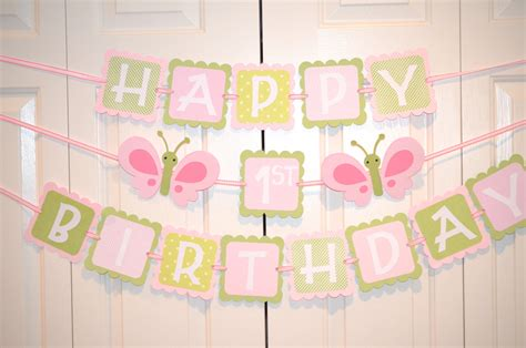 How To Make A Happy Birthday Banner Of Paper - butterfly happy 1st birthday banner birthday butterfly