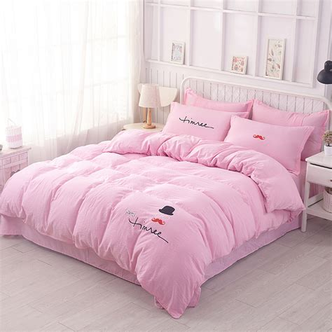 cute pattern bedding pink cute home house wares bedding orange pattern 4pcs