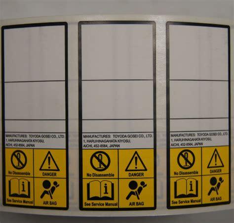 caution label airbag danger label toyota  oem