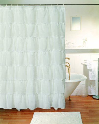Best Gypsy Ruffled Shower Curtain White For Sale White