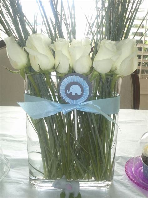baby shower flower arrangements elephant themed baby boy shower yay baby
