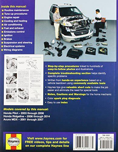 haynes honda pilot ridgeline acura mdx automotive acura mdx honda pilot ridgeline haynes manual 2001 2012 software automotive parts