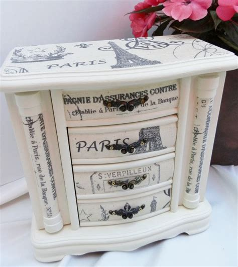 Decoupage Paint - upcycled jewelry box wood graphic decoupage in