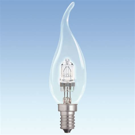 laes bent tipped eco halogen candle 28w ses clear 35x125mm