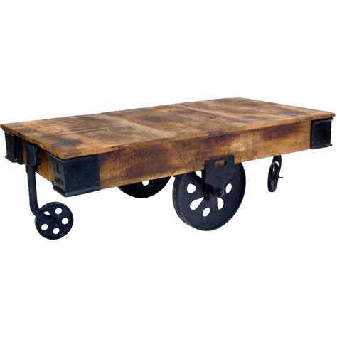 Coffee Tables Wheels Industrial Cart Style Coffee Table W Antique Wheels Buy Coffee Tables