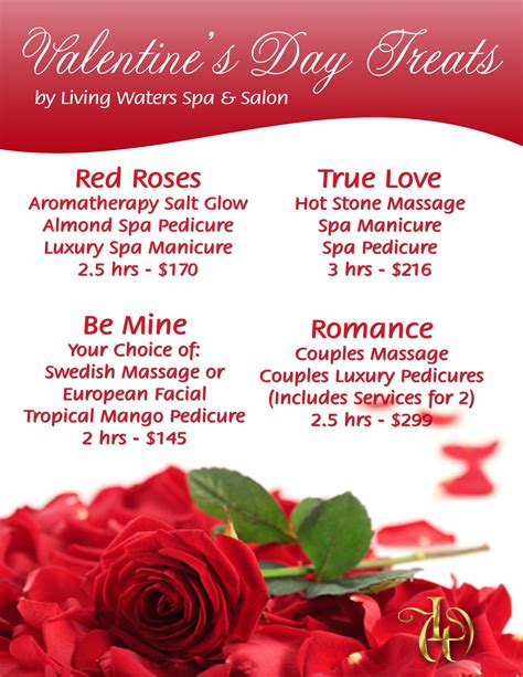 valentines spa specials day spa living waters day spa s