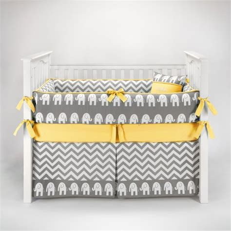 Yellow And Gray Crib Bedding Set Elephant Chevron Zig Zag Gray Yellow Baby Bedding 5pc Crib Set By Sofia Bedding S