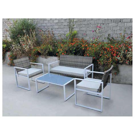 salottino da giardino salotto salottino giardino esterno in polirattan e acciaio