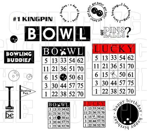Bowling Bingo Card Template by The Cutting Cafe Bowling Pin Shaped Card