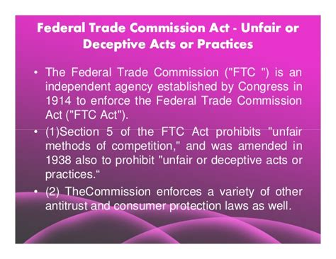 ftc act section 5 microsoft power point comparative study of the main