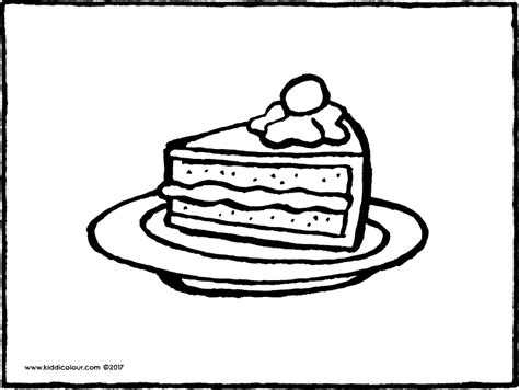 coloring pages of a piece of cake cake colouring pages kiddi kleurprentjes