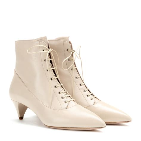 Miu Miu by Lyst Miu Miu Lace Up Leather Ankle Boots In White