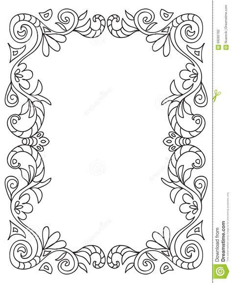 decorative coloring floral frame stock illustration