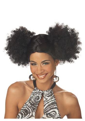 black people hair in 70 black disco puffs wig