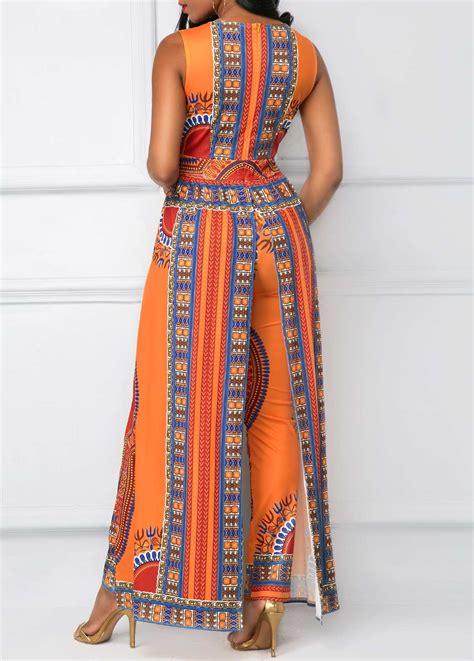 Embellished V Neck Jumpsuit v neck overlay embellished dashiki print orange jumpsuit