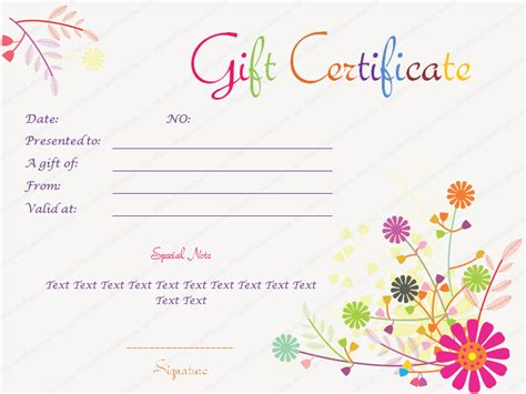 floral gift card template splash flowers gift certificate template