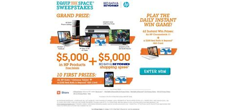 Bed Bath And Beyond Sweepstakes 2014 - bed bath beyond and hp equip your space sweepstakes 5 000 in hp products plus a