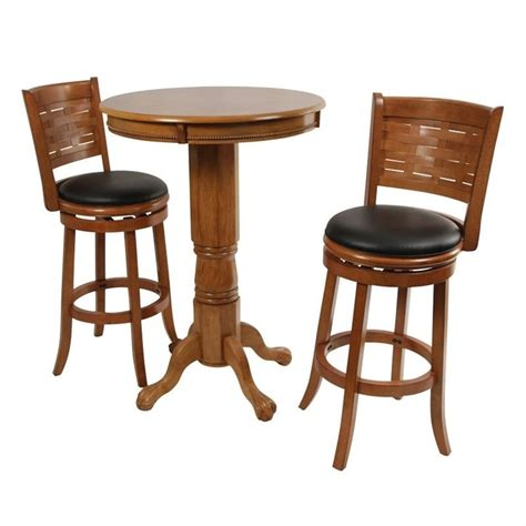Pub Table Set by Boraam Florence 3 Pub Set In Brush Oak 71142 41029 Pkg