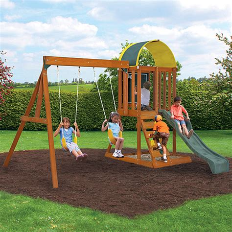 wooden outdoor swing set cedar summit premium play sets ainsley ready to assemble