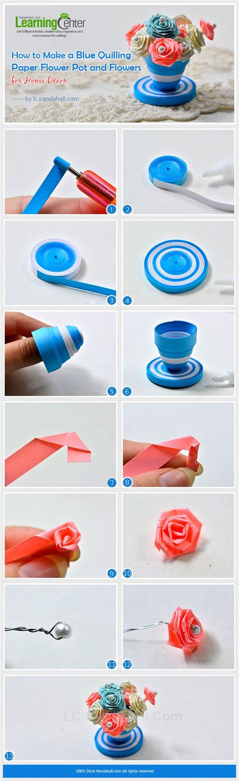 How To Make Paper Flower Pot - tutorial on how to make a blue quilling paper flower pot