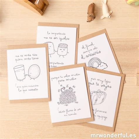 Tarjetas De Felicitaci 243 N Con Wonderconsejos Surtido De 5 Modelos Mr Wonderful