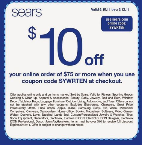 Promo Promo printable coupons sears coupons