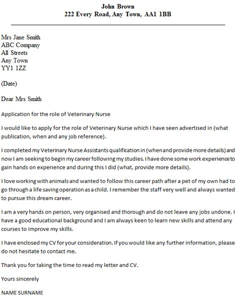 Work Experience Letter Template Vets Veterinary Cover Letter Exle Icover Org Uk