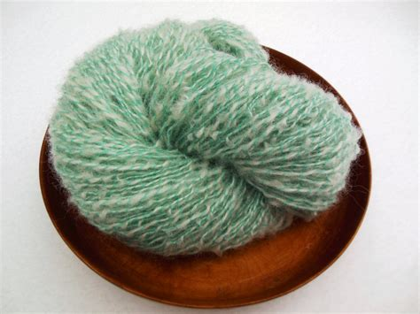 boucle knitting yarn white and teal handspun boucle yarn by carolsknitnspin on etsy