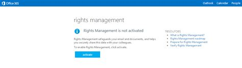 How To Activate Office 365 Portal Ad Rms Rights Management Services For Office 365