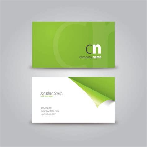 curled corner business card download free vector green