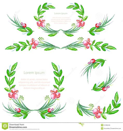 designer garland watercolor floral design elements with leaves and berries