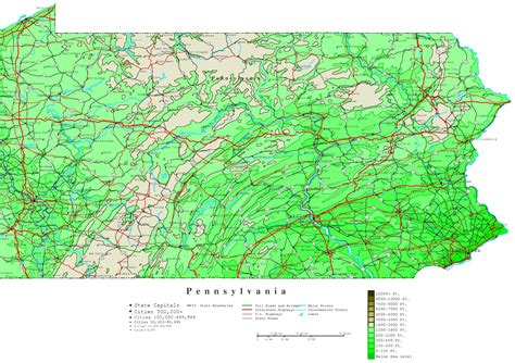 map of pennsylvania pennsylvania contour map