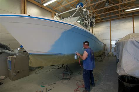 how to spray paint a fiberglass boat painting jim s marine ocean city maryland boat repair