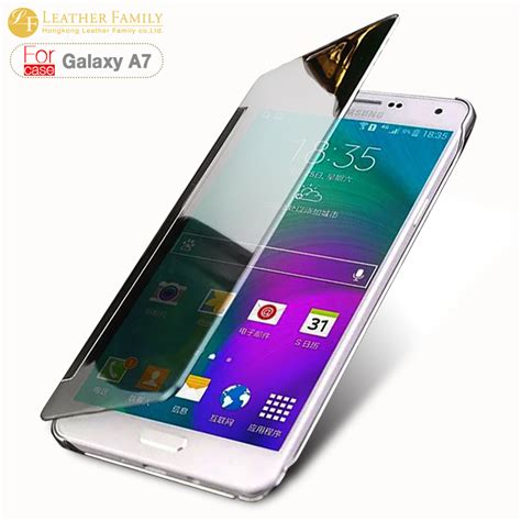 Samsung A7 Di Hongkong for samsung galaxy a7 original translucent plated mirror smart clear view flip cover for