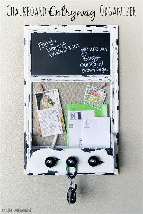 diy entryway organizer chalkboard diy entryway organizer crafts unleashed
